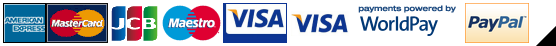 American Express, MasterCard, JCB, Maestro, Visa and Visa Debit powered by WorldPay and PayPal